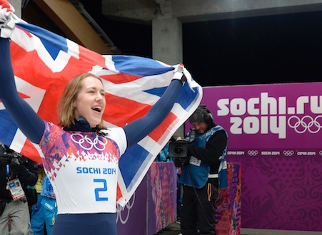 Lizzy Yarnold celebrates her GOLD medal in the Olympic Skeleton of Sochi 2014