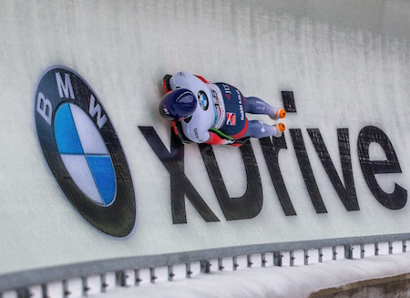 24.2.2017 Berchtesgaden - Konigssee, Germany. Action from the Women's Skeleton Runs 1+2, Lizzy YARNOLD GBR negotiates curve 14.